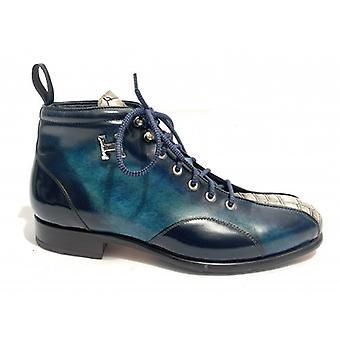Men's Shoes Harris Polish Leather Blue Petrol Shade Blue White Croco Soccer Bottom U17ha133