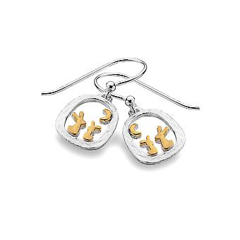 Sterling Silver Earrings - Origins Rabbits + Gold Plated In Frame