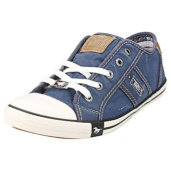 Mustang Lace Up Low Top Femmes Casual Trainers en Jeans Blue