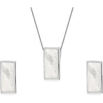 Toskana Silber Rolokette Mit Anhnger Sterling Silber Rechteckschliff Perlmutt 41cm/16zoll