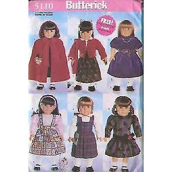"""Butterick ompelu kuvio 5110 18"""" Nukke Vaatteet Mekko Cape Jacket Jumper"""