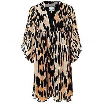 Ganni Pleated Oversized Leopard Print Mini Dress