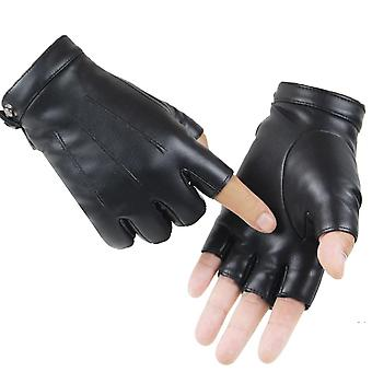 Leather Gloves Male Fingerless Mittens Black