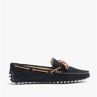 Chatham Aria Ladies Leather Driving Moccasin Shoes Navy