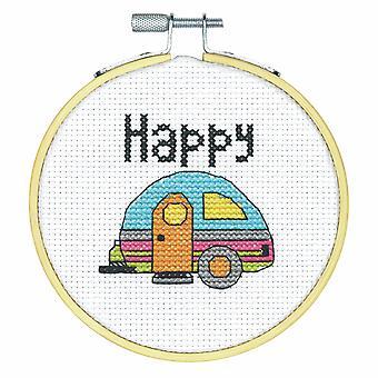 Mått räknade Cross Stitch Kit med Hoop: Happy Camper