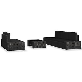vidaXL 6 pezzi. Garden Lounge Set Poly Rattan Nero