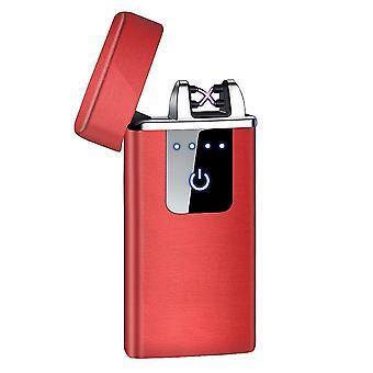 جديد hb-021-الأحمر الساتان أزياء قوس مزدوج الإلكترونية أخف الذكية لمسة USB التعريفي القابلة لإعادة الشحن sm41908