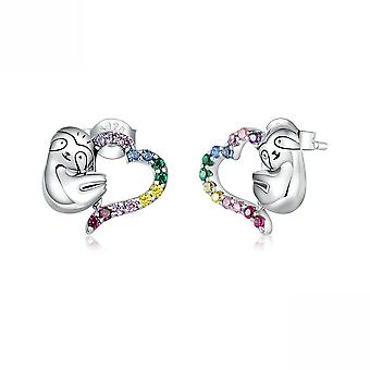 Ear Studs Small Colorful Lovely Sloth S925 Antiallergy Earrings For Daily Use