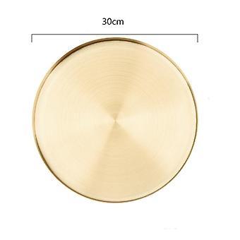Golden Round Storage Tray European Stainless Steel Jewelry Food Sundries Makeup Organizer(golden)