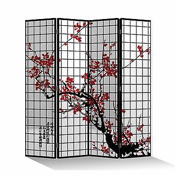 Fine Asianliving Room Divider Privacy Screen 4 Panneaux W160xH180cm Fleurs de cerisier Noir