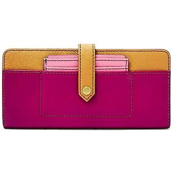 Fossil Myra Tab Clutch Magenta Leather Wallet Tan SWL2450508