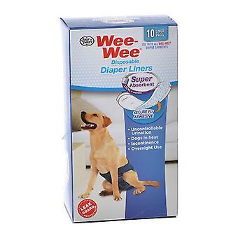 Четыре лапы Wee Wee Супер Абсорбент Одноразовые подгузники - 10 Упаковок - (Подходит для всех размеров одежды)