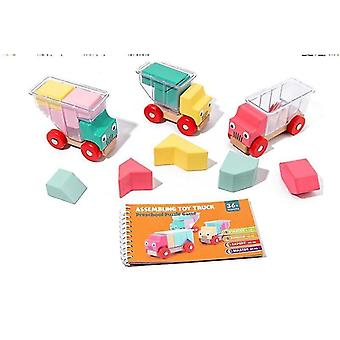 Wooden blocks children wooden variety truck puzzled magic cube building blocks montessori educational toys logical