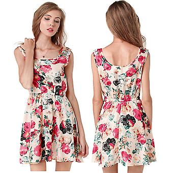 European Spring Summer Women Dress Floral Printed Sleeveless Chiffon Dress