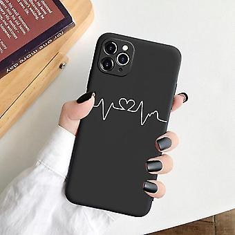 iPhone 13 Pro Max Mini illustrated painted silicone shell black white