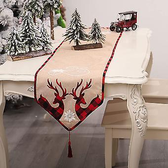 שולחן חג המולד רץ רקום פשתן ארוחת ערב קישוטי מסיבת מפת