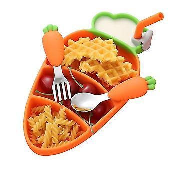 Enfants Carotte divisé plaque de silicone avec ustensiles Ensemble de repas pour enfants