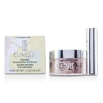Clinique blandet ansigt pulver + børste-No. 02 gennemsigtighed; Premium pris på grund af knaphed-35g/1,2 oz