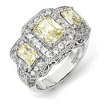 925 Plata esterlina paso cortado radiante corte canario y blanco CZ zirconia cúbica zirconia simulado diamante 3 piedra anillo joyería regalos
