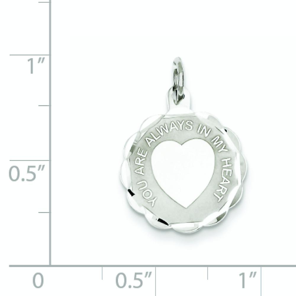 925 Sterling Silver Solid Faceted Engravable Polished back Your Always In My Love Heart Disc Charm Pendant Necklace Jewe