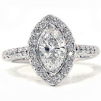 1 3 / 8ct Marquise Halo Diamant-Ring 14K Weissgold