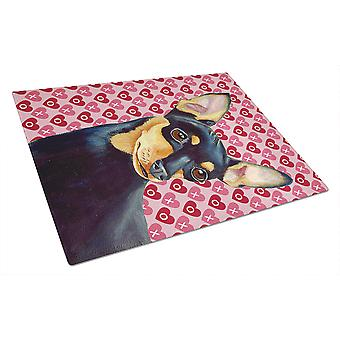 Min Pin Hearts Love and Valentine's Day Portrait Glass Cutting Board Large