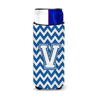 Letter V Chevron Blue and White Ultra Beverage Insulators for slim cans
