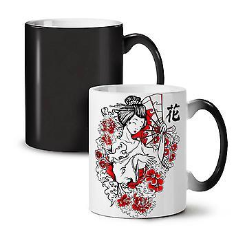 Dziewczyna Flower Power nowy czarny kolor zmieniających herbata kawa ceramiczny kubek 11 oz | Wellcoda