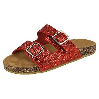 Girls Spot On Glitter Sandals - Red Glitter - UK Size 12 - EU Size 30 - US Size 13