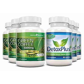 Grøn kaffebønne uddrag 6000 mg Detox Combo pakke - 3 måneders forsyning - fedtforbrænding og kolon rensning - Evolution slankende