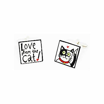 Sonia Spencer Love from the Black & White Cat Cufflinks - English Bone China Hand Crafted