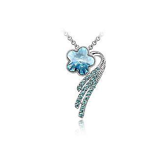 Womens Blume Blütenblatt Anhänger Halskette Blau Kristall