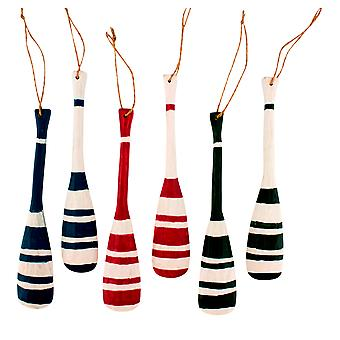 Green Red and Blue Wood Boat Oars Christmas Holiday Ornaments Set of 6