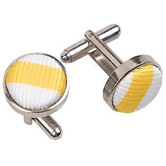 White & Yellow Thin Stripe Cufflinks