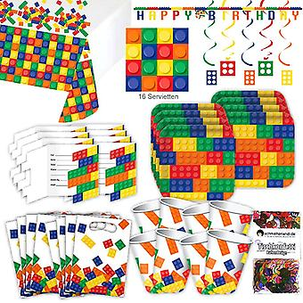 Building blocks toys party set XL 64-teilig 8 guests block party birthday party package