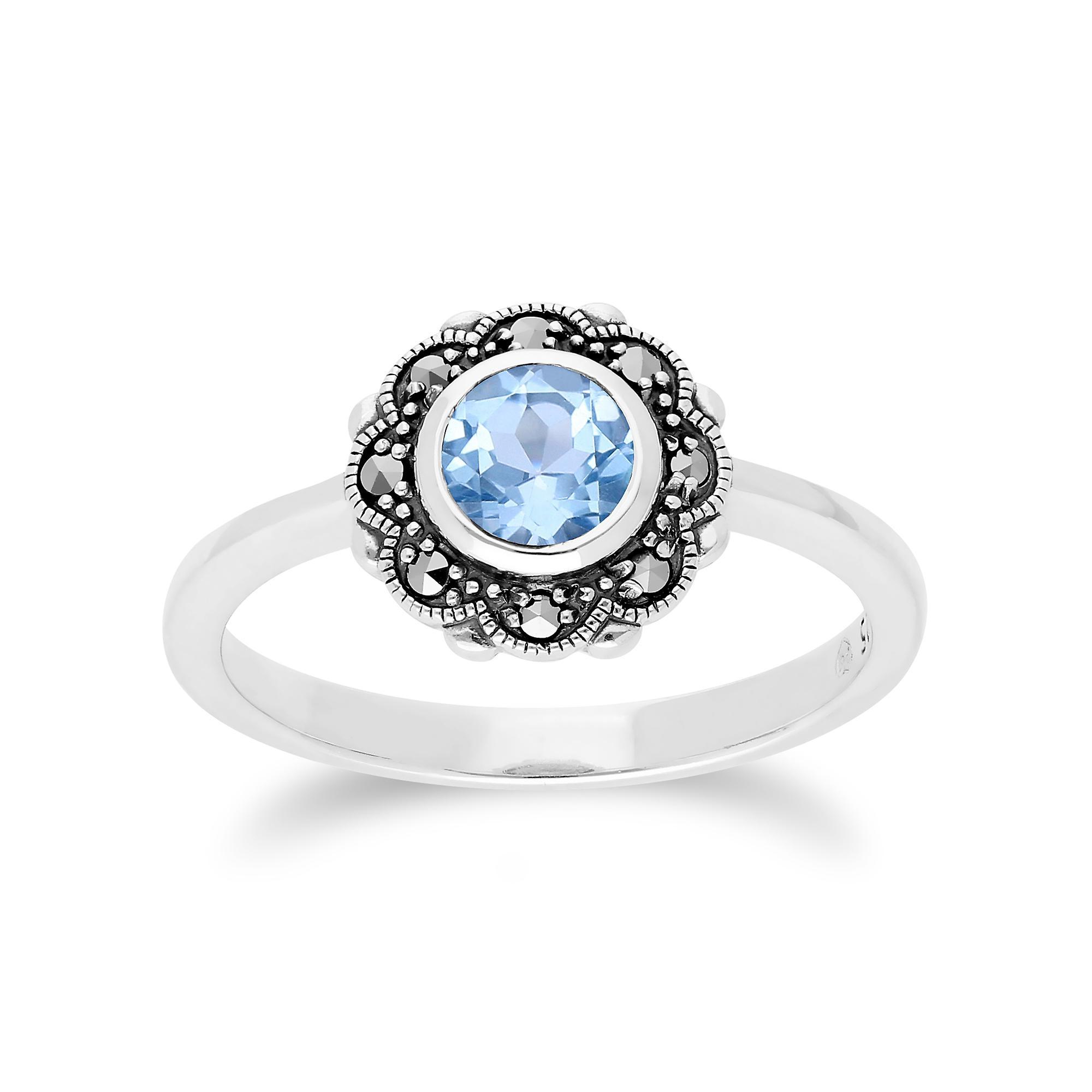 Gemondo Sterling Silver Blue Topaz & Marcasite Art Noveau Floral Ring