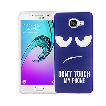 Cell phone case for Samsung Galaxy A5 2016 cover case protective bag motif slim silicone TPU dont touch my Phone Blau