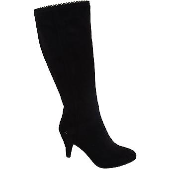 Ladies Scallop Trim Pointed Toe Black Suede Women's High Knee Boots Heels