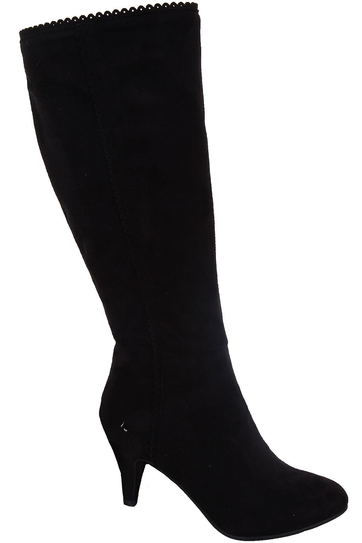 Ladies Scallop Trim Pointed Toe Black Suede Women's High Knee Boots Heels