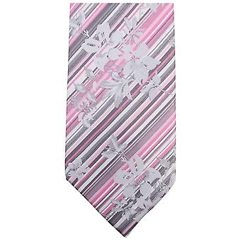 Knightsbridge Neckwear Unique Floral Tie - Pink/Grey