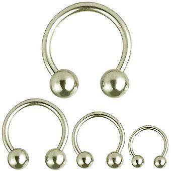 Barbell circulaire fer à cheval, Piercing, bijoux de corps, épaisseur 2,0 mm   Diamètre 8-22 mm
