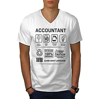 Accountant Multitasking Men WhiteV-Neck T-shirt | Wellcoda
