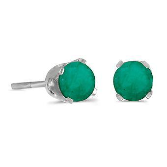 LXR 14k valkoinen kulta 4mm pyöreä smaragdinvärinen kierrekorkki korvakorut 0.38 ct
