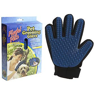 DOG GROOMING GLOVE BLUE