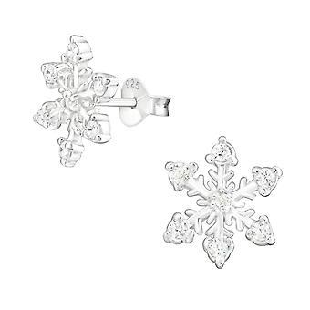 Sneeuwvlok - 925 Sterling Zilver Zirkonia Ear Studs - W15505X