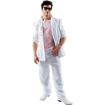 Orion kostymer mens Miami Vice rosa vit Florida Detective 80s fancy Dress