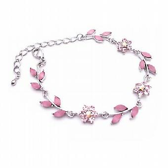 Trendy & Fashionable Pink Enamel Flower & Leaves Silver Metal Bracelet