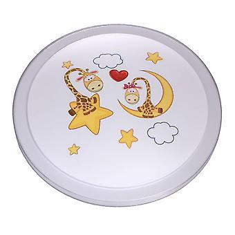 Glasberg - White Children's Led Flush Ceiling Light With Printed Moon Design 365015701