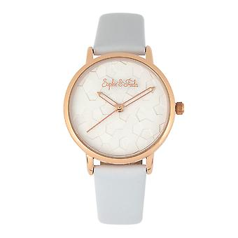 Sophie & Freda Breckenridge Leather-Band Watch - Rose Gold/White