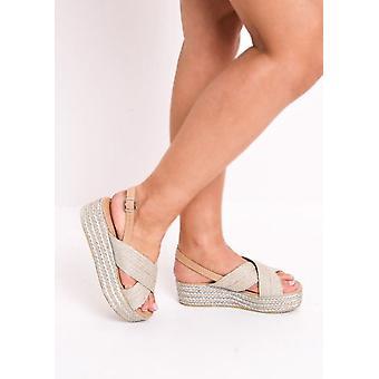 Cross Over gevlochten Cork Slingback Flatform Espadrilles sandalen zilver